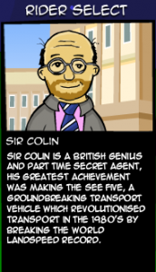 Sir Collin is one of many charcters you can unlock in Cyclomaniacs.
